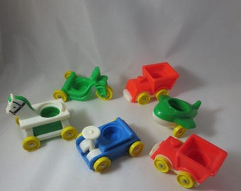 Vintage Fisher Price Little People Vehicles-Train scooter plane hobby horse