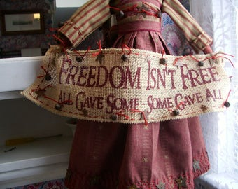 "Primitive folk art doll 22     Patriotic ""Freedom Fergie"""