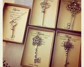 Skeleton Key necklace, key gift, bridesmaid key jewelry.