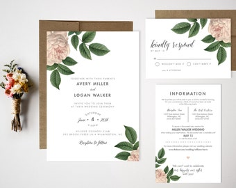 Wedding Invitation Bundle // Floral Invite // Vintage wedding invitation // Vintage Florals // Wedding Invitation Set
