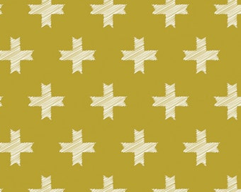 Unn Cross in color Ochre from Heartland Collection by Pat Bravo Art Gallery Fabric, Choose your cut
