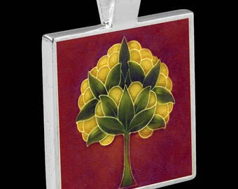 Silver Pendant with Necklace - featuring a reproduction of an Art Nouveau Tile