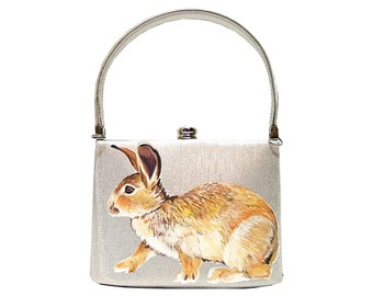 Oh fancy rabbit! handpainted silver box clutch - one of a kind, upcycled shimmering silver fabric and crystal clasp