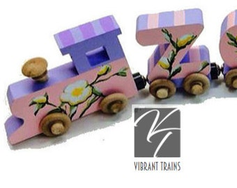 Custom SIX LETTER Name Train. Any Style or Design with Engine and Caboose, Hand Painted for you by Vibrant Trains