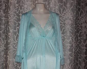 Vintage 70's Texsheen Nightgown Peignoir Set M