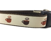 Dog Collar, Coffee Dog Collar, 1 inch wide, adjustable, quick release, metal buckle, chain, martingale, hybrid, nylon