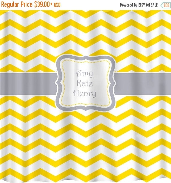 12 Days Christmas SALE Personalized Chevron Shower Curtain - Shown in Yellow and Marigold versions with any color Accents