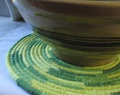Coiled Mat, Chair Pad, Hot Pad, Trivet - 12 INCH ROUND - Shades of Green and Yellow, Handmade by Me
