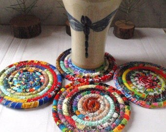 Multicolored Bohemian Coiled Coasters - Set of 4 - Handmade by Me