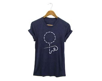Stitched Feminist Icon Tee -  Female Symbol Boyfriend Fit Crew Neck Tshirt with Rolled Cuffs in Heather Navy Blue & White - Women's S-5XL