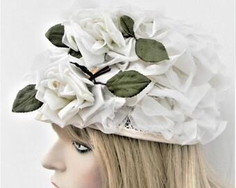 Vintage white roses flower hat-garden party hat- bridal- Easter bonnet- wedding- peach basket style