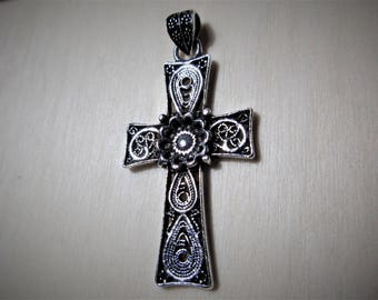 Victorian Sterling Silver Cross Pendant