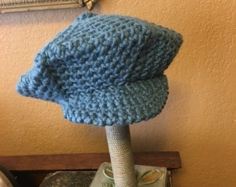 Handmade crochet newsboy cap for a newborn baby