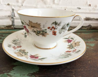 Vintage Teacup Tea Cup and Saucer  Royal Doulton Ardon Fall Leaves and Berries English Bone China