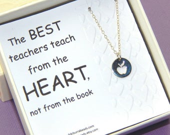 Teacher's Apple Necklace,Thank you gift for teacher,Teacher appreciation gift, Teacher appreciation Day,