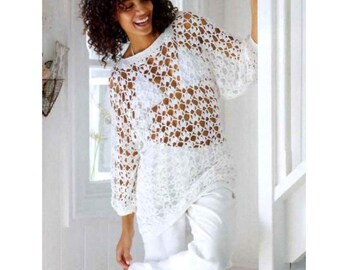 Vintage Crochet Pattern CHART  Summer Tunic Sweater Pullover  Mini Dress  Beach Cover Up Lace Mesh