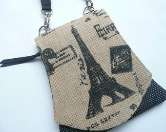 Cell Pouch ~ Paris Burlap ~ By Marilyn