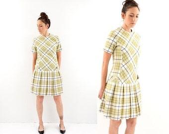 HOLIDAY SALE vintage 60s mod LIME green Plaid drop waist pleated dress M