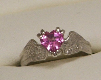 HEARTBEAT Sterling Silver and Lab Created Pink Sapphire Angel Fairy Wings With a Heart-Ready to Ship