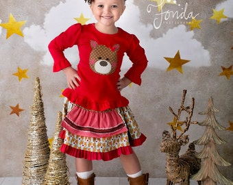 Girl's Reindeer Skirt and Shirt Set-From the Winter 2016 Collection by Mellon Monkeys