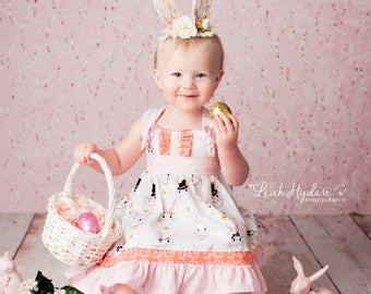 Girls Easter Dress- Hop to it Spring Dress-  Melon Monkeys 2017 Collection