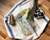 NY - Boroughs Map Kitchen/Tea Towel