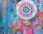 Mandala mixed media - beautiful boho inspired original art piece