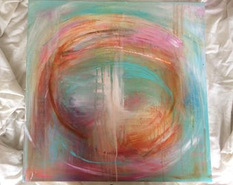 The never ending circle - Abstract original artwork in teal, blush and Azo gold.