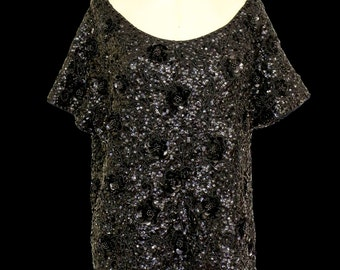 Original vintage late 1970s black lace cocktail dress by Alfred Bosand - Small - FREE SHIPPING WORLDWIDE