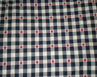 "SALE WOVEN CHECK Fabric 1.25 Yd X 54"" Navy with apples"