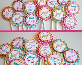 Puppy Birthday Party Cupcake Toppers | Fully Assembled Decorations | Gold Sparkle Puppy Party | Girly Puppy Party | Dog Theme Toppers | Dogs