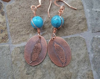 Turquoise Etched Copper Feather Drop Earrings