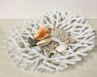 """Large Sea Coral Bowl Dish, Fused Glass, Pure White, 13"""" Handmade Kiln Formed, Organic"""