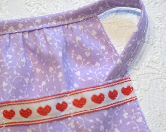 Barbie Handmade Apron  Lavendar Floral Apron with Heart Trim on Pockets - Barbie Kitchen Accessory from Glendalee