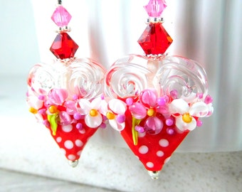 Red Pink White Polka Dot Heart Earrings, Valentine's Day Earrings, Romantic Floral Jewelry, Large Lampwork Statement Earrings, Whimsical