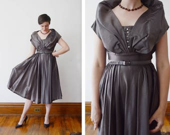 Early 50s Shimmery Grey Party Dress with Rhinestone Buttons - S/M