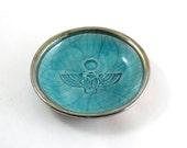 Egyptian Scarab Offering Bowl Handmade Raku Pottery