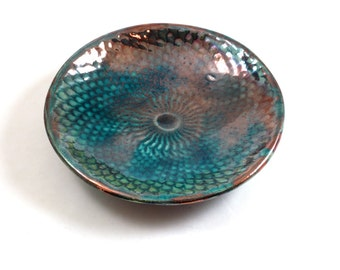 Raku Dragon Skin Bowl Handmade Ceramic Pottery