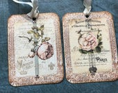 Botanical Print banner tags, lovely peony roses, 2 each of 2 designs. French script background,  and Crystal Rhinestone.