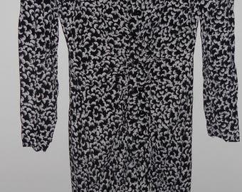 80s Vintage Dawn Joy dress size 5-6 black/white floral w/ ruffles - cotton