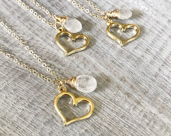 Gold Heart Necklace, Heart Charm Pendant, Moonstone Pendant, Love Jewelry, Gold Charm Necklace, Moonstone Jewelry, Gift for Women
