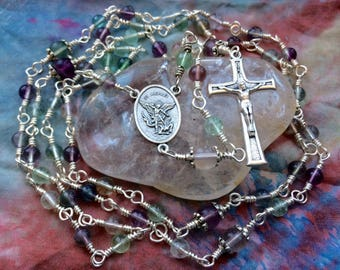 Traditional Full Size Wire Wrapped Rosary in Rainbow Fluorite and Silver