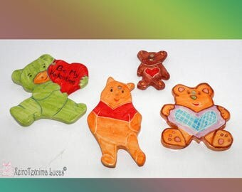 4 Pcs Ceramic Bear Ornaments, Bear Handmade Ceramic Tiles, Beautiful decoration for children's room, handmade ceramic animal ornaments. DIY