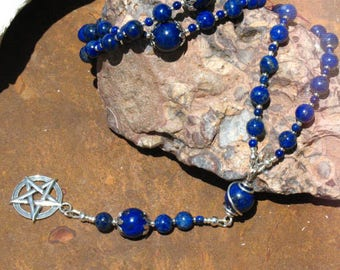 Sterling Silver and Lapis Lazuli Pagan Rosary~Pentacle~Blue and silver Ritual Necklace