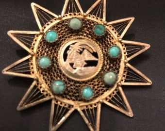 Vintage Eqyptian Motif Brooch with Turquoise