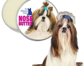 Shih Tzu NOSE BUTTER® Handcrafted All Natural Balm for Dry, Crusty Dog Noses Your Choice of 1 oz, 2 oz or 4 oz tin with Shih Tzu on Label