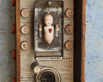 Assemblage Found Object Shrine Shadow Box Mixed Media Upcycle