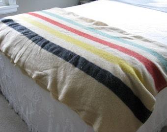 Vintage Polar Star Golden Dawn Striped Camp Blanket Wool