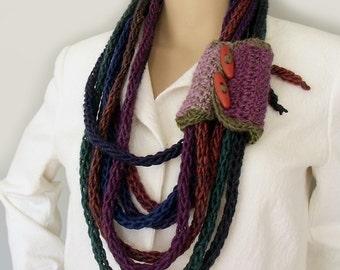 Scarf necklace, Infinity scarf, Lariat necklace, Buttoned cuff, Wool neckwarmer, Boho gypsy scarf, Wisp bundle scarf