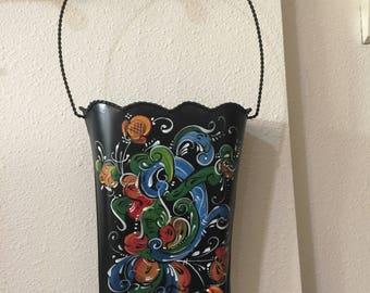 Norwegian rosemaled tin pocket hanging